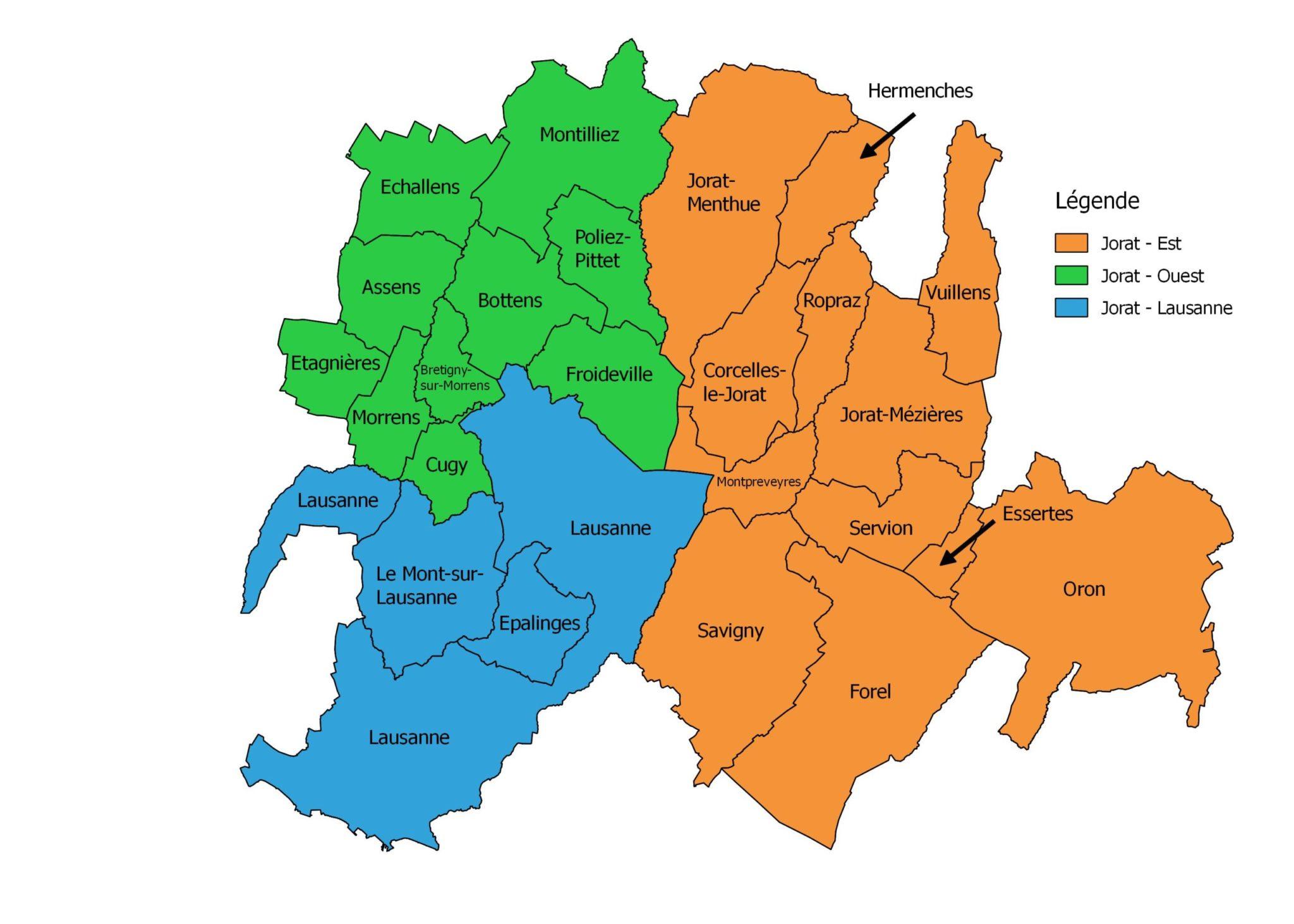 Carte des communes de la région du Jorat.